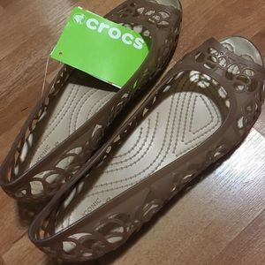 Crocs Isabella Jelly Flat Bronze NWT in Size 9